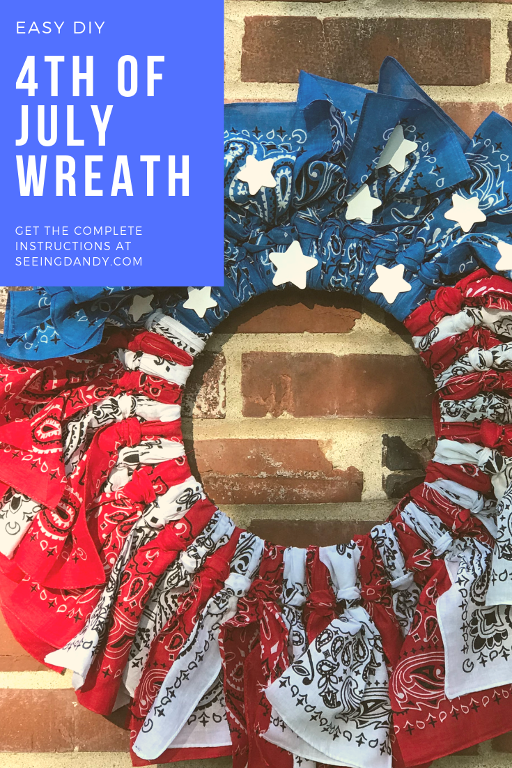 Easy DIY bandana wreath for the fourth of July.