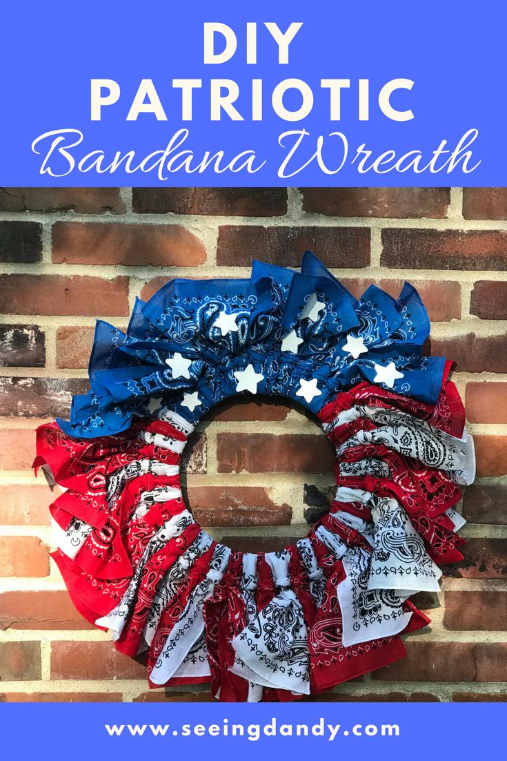 DIY patriotic bandana wreath.