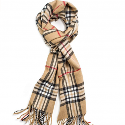 Easy to wear Burberry inspired scarf. Perfect fall and winter fashion.