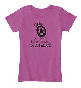 Be an Alice shirt in pink for buying Alice in Wonderland shirts.