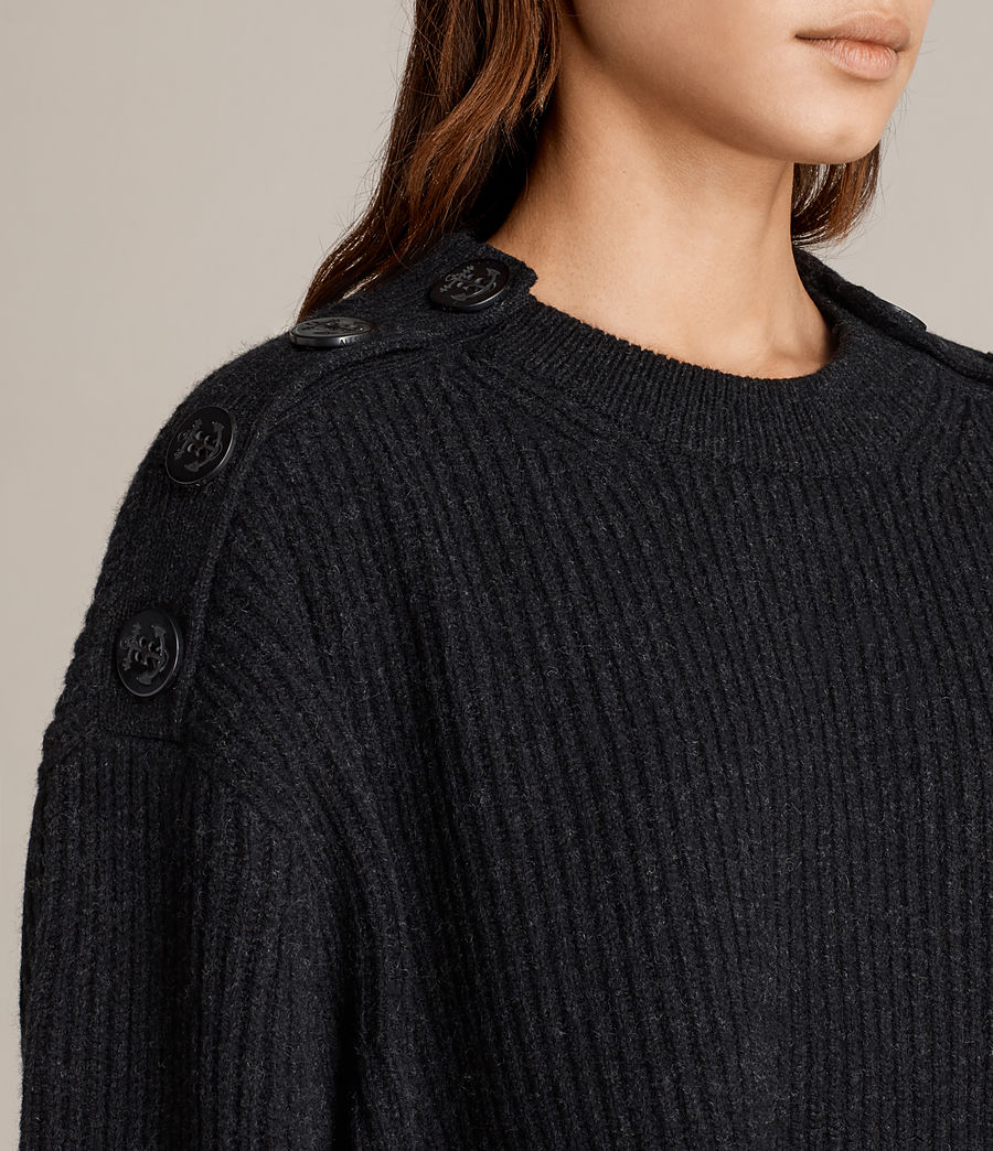 Fall fashion trends anchor buttons on charcoal color sweater.