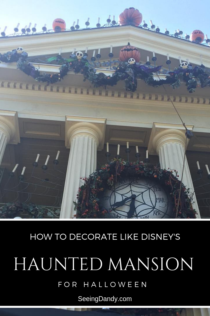 Disney's Haunted Mansion decorated with a Nightmare Before Christmas theme.