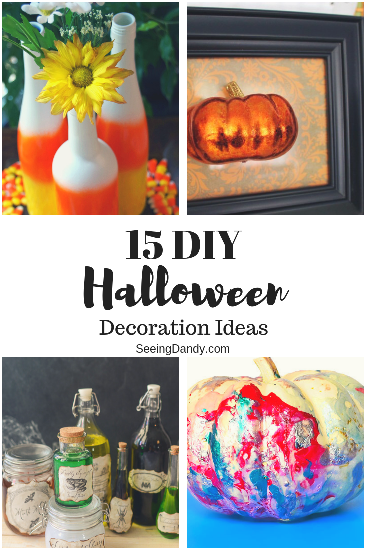 DIY Halloween decoration ideas with pumpkins, candy corn vases, and potion bottles.