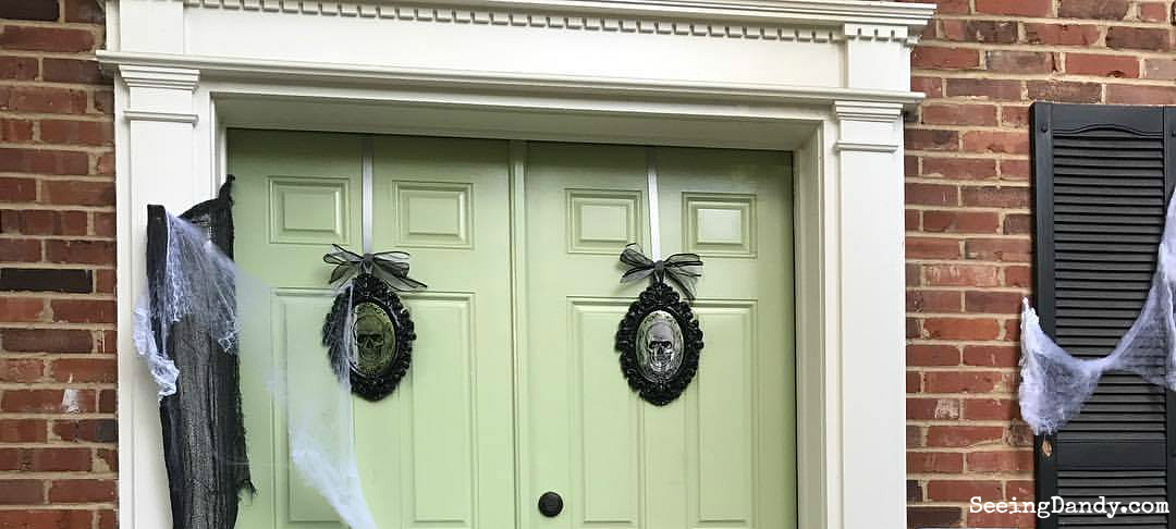 Haunted Mansion front door for Halloween. Easy to create.