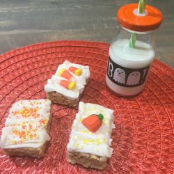 Candy Corn And Pumpkin Rice Krispies Treats For Fall