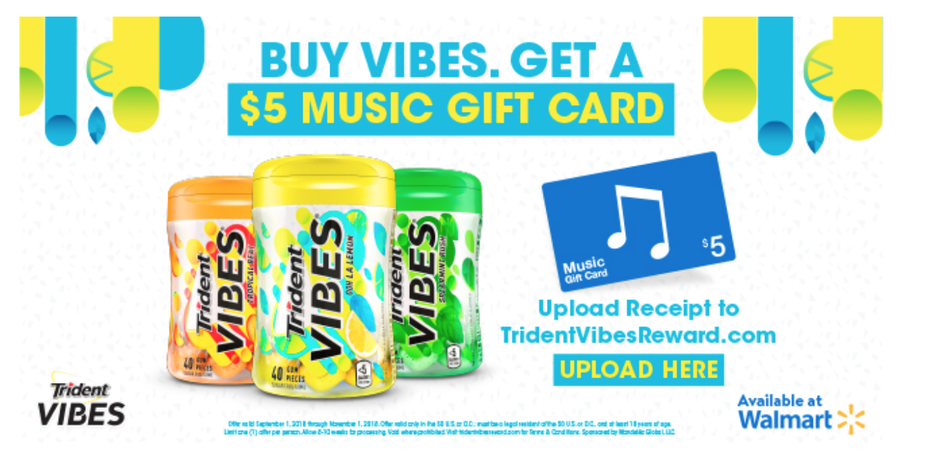 Trident Vibes deal with iTunes gift card at Walmart.