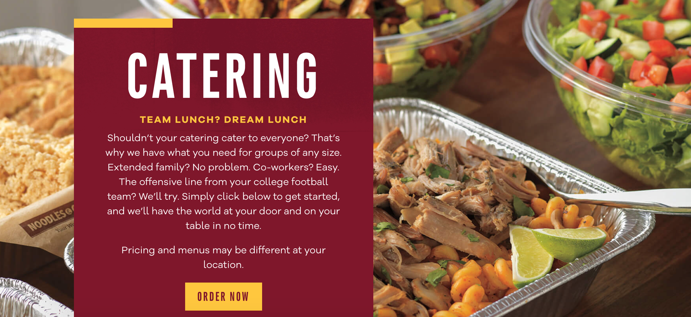 Catered gluten free Thanksgiving sides from Noodles & Co.