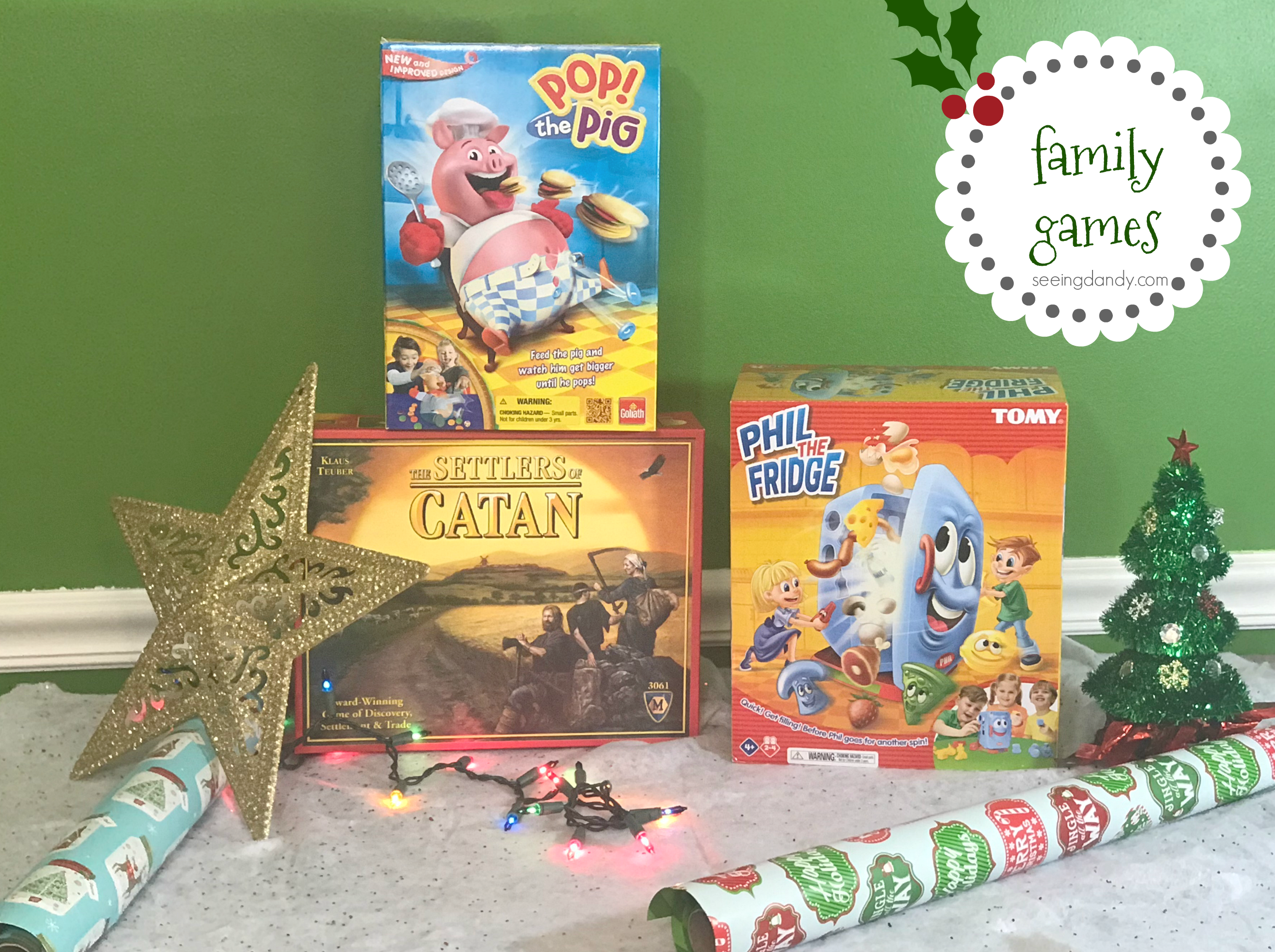 Games like Pop the Pig, Settler of Catan, and Phil the Fridge make great holiday toys for gift giving.