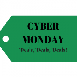 Cyber Monday deals green price tag.