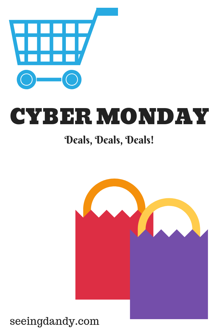 Where to find the Cyber Monday best deals. Picture with shopping cart and shopping bags.