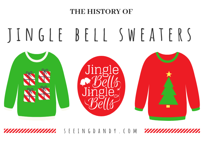 Jingle bell ugly Christmas sweaters in red and green. With Christmas trees and presents.