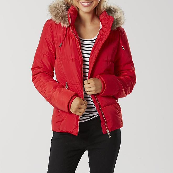 Sears Cyber Monday Deals on puffer coats. Red puffer coat.