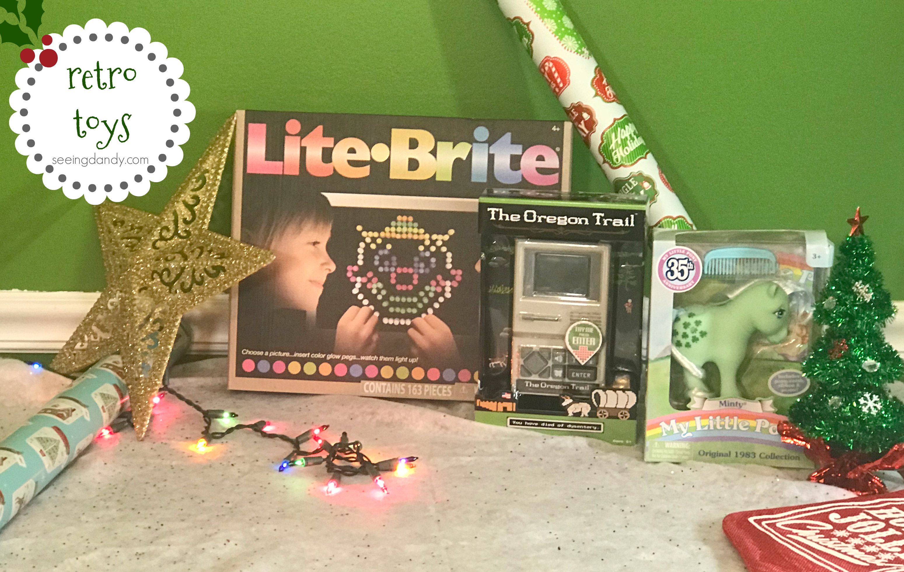Retro toys Lite Brite, The Oregon Trail game and My Little Pony 35th Anniversary holiday toys.