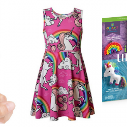 Unique unicorn gifts of dresses, Fingerlings, night lights, and more.
