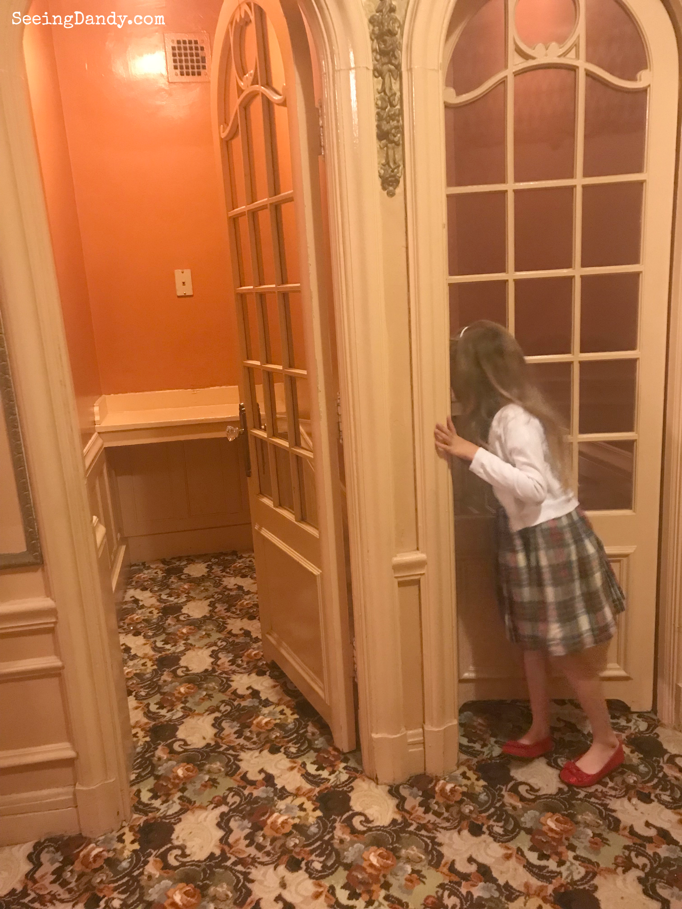 Fox Theatre antique phone booth in the powder room for a little girl's Christmastime birthday.