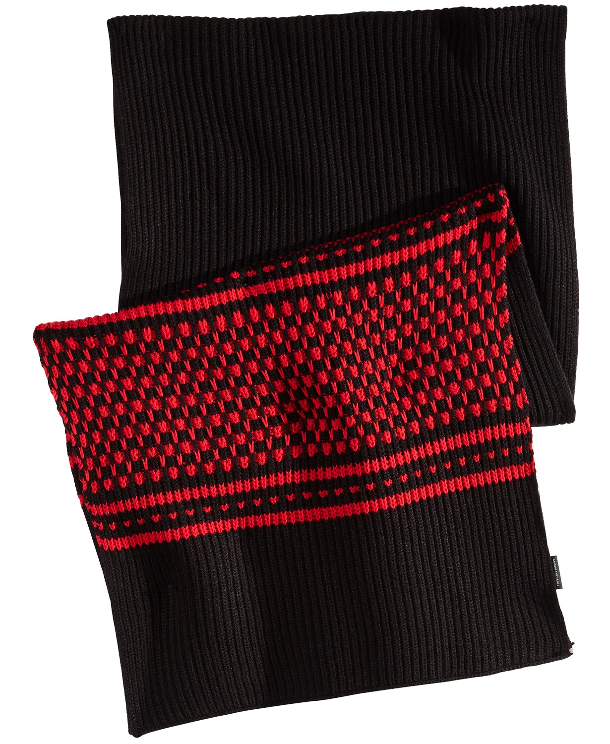 Red and black Armani Exchange scarf.
