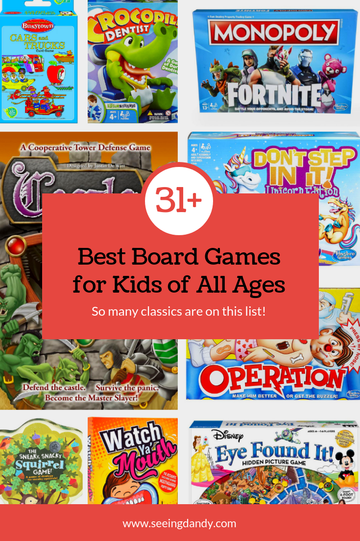 All the best board games for kids of all ages. Operation, Monopoly, Eye Found It.