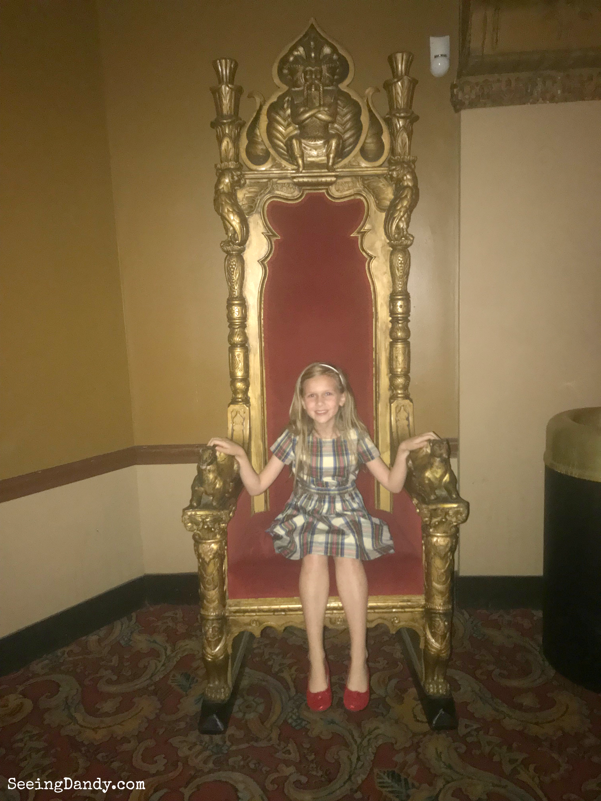 Princess Christmastime birthday girl sitting on her throne at the Fabulous Fox.
