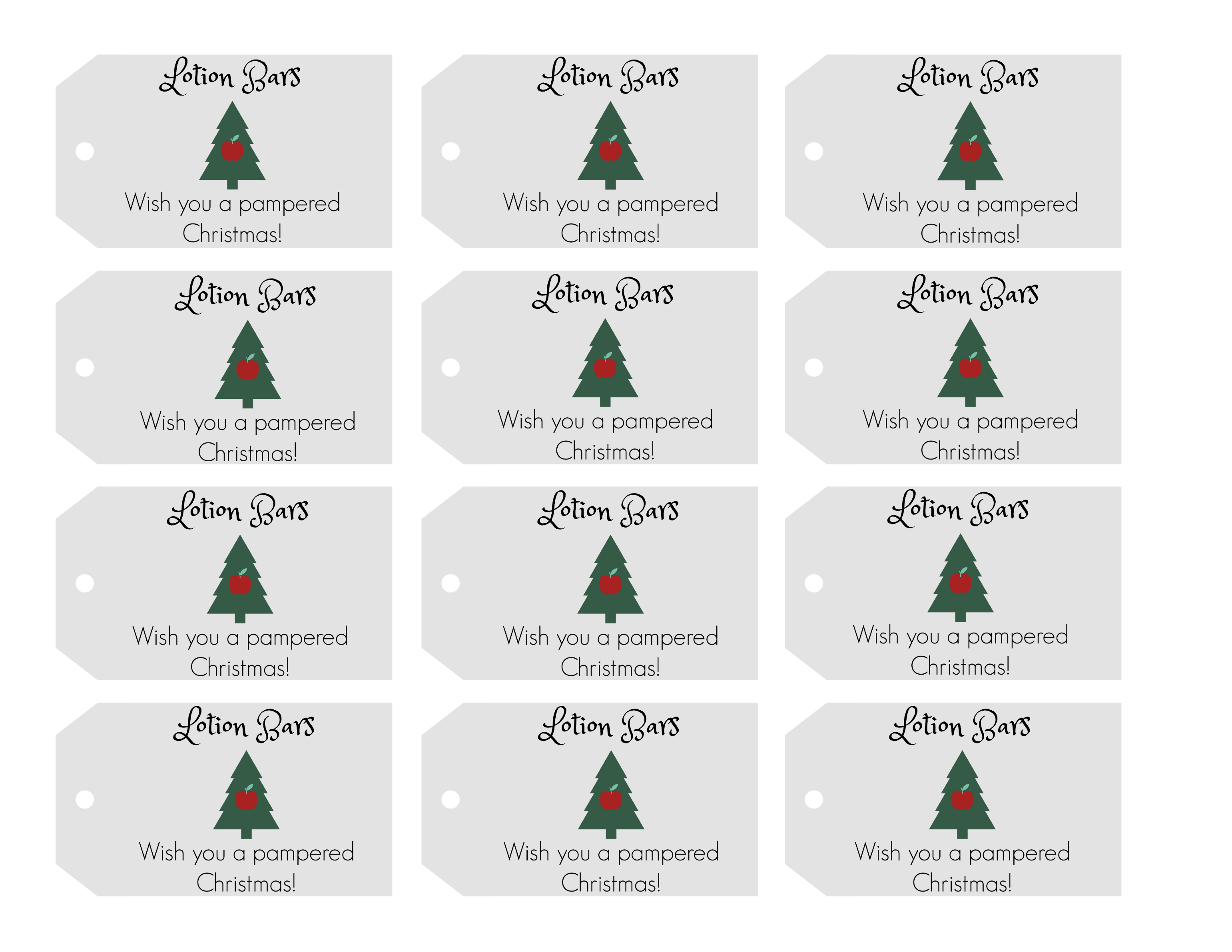 Lotion bars free printable gift tags for teacher Christmas gift. Wish you a pampered Christmas!