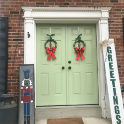 Nutcracker porch sign Christmas decorations and Nutcracker wreaths. Season's Greetings wood sign. Farmhouse milk can.
