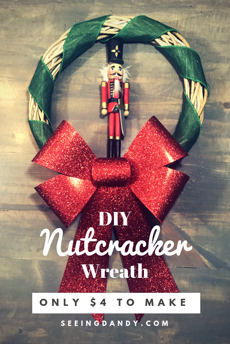 Easy to make DIY Nutcracker Christmas wreath on farmhouse table.