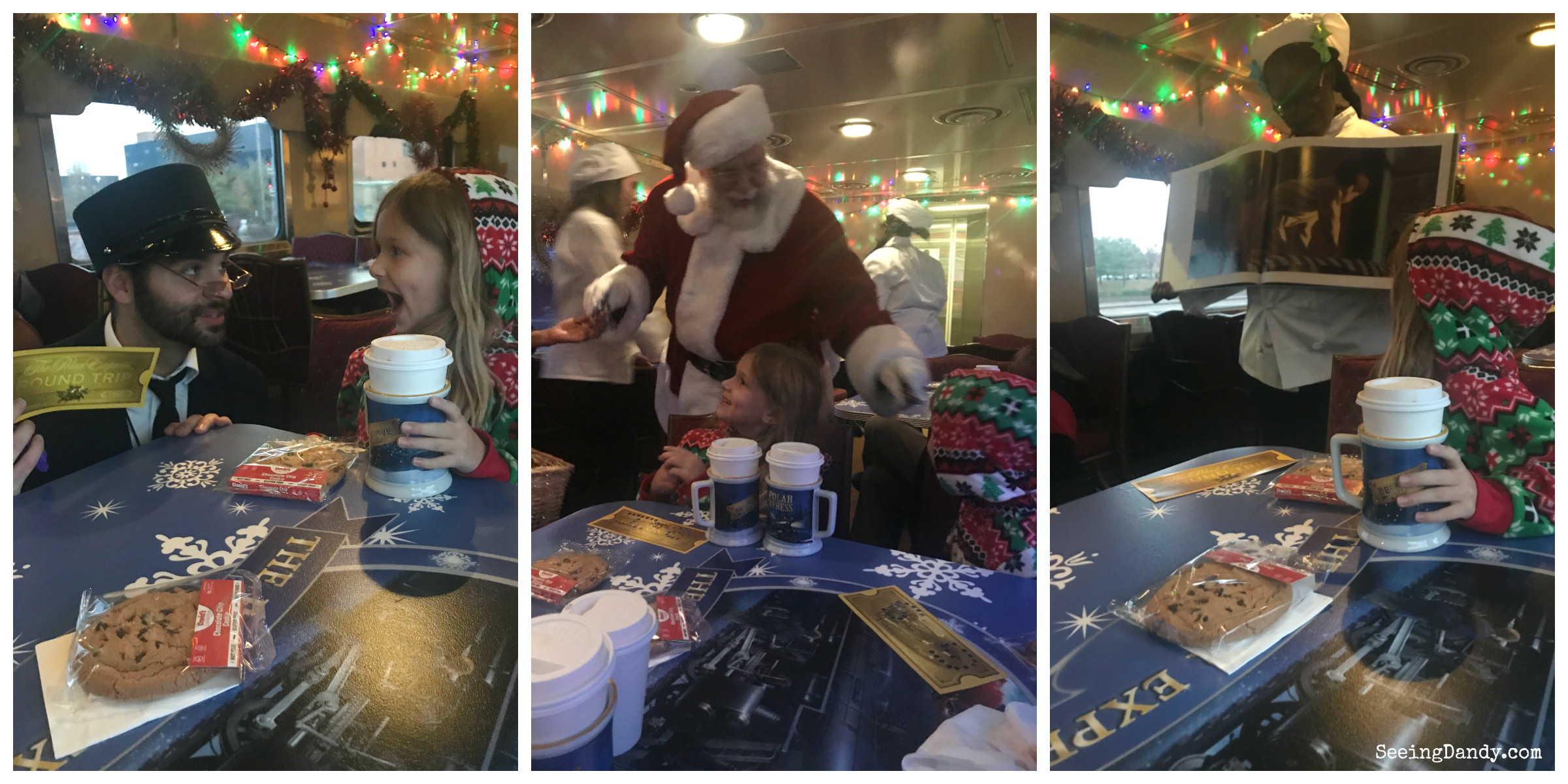 Union Station Polar Express conductor, Santa, and storybook.
