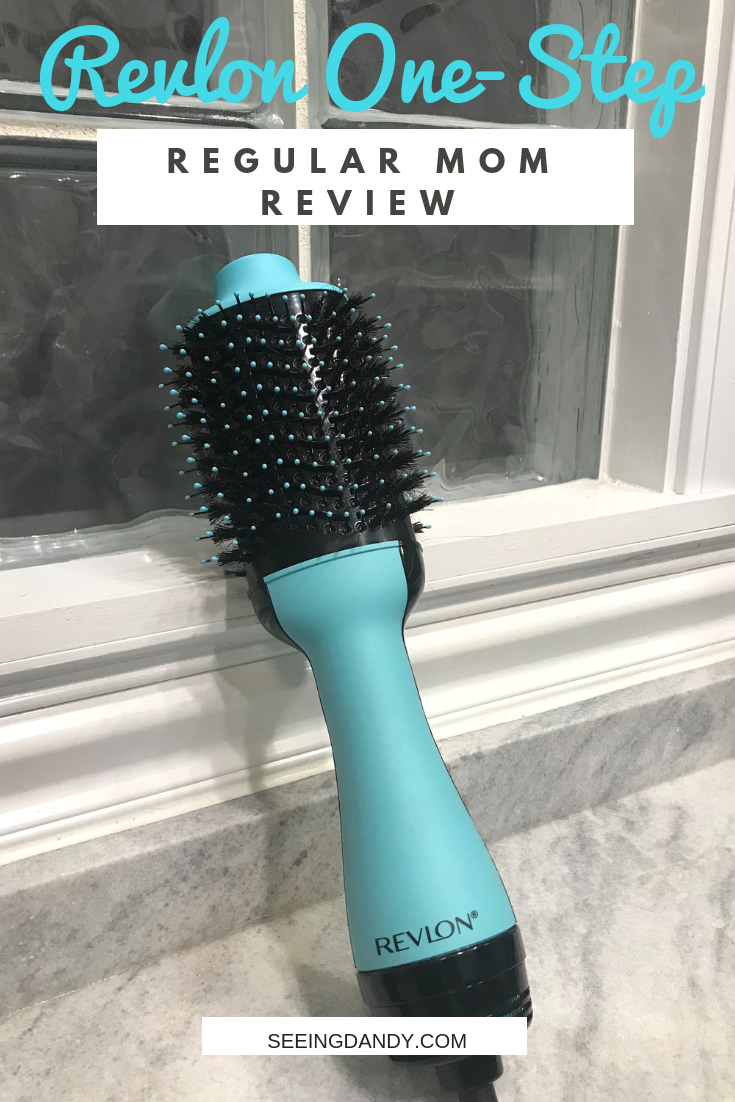 Regular mom review of the Revlon One Step Hair Dryer and Volumizer. Modern farmhouse bathroom with glass blocks wall and marble countertop.