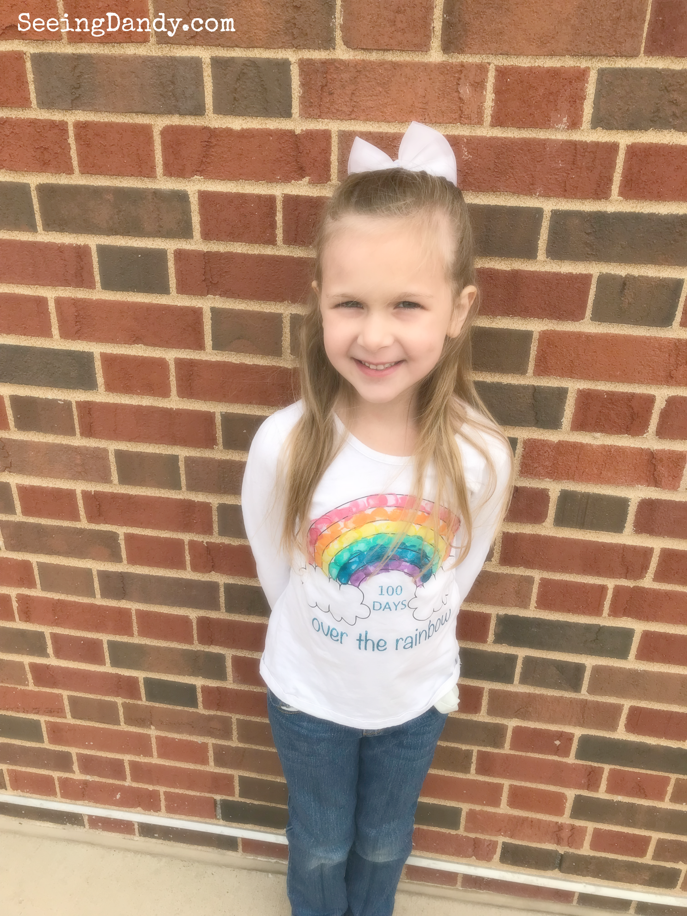 Easy to make 100th Day of School rainbow shirt to celebrate 100 days of school.