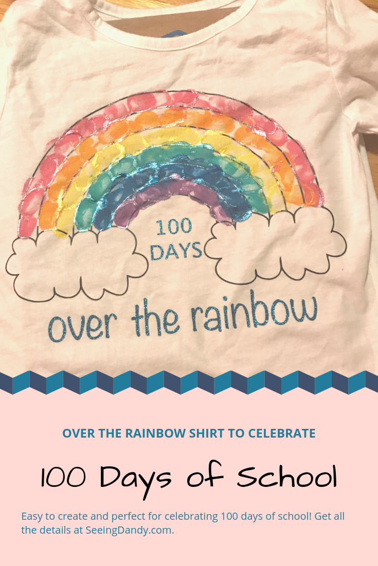 Easy DIY 100th Day of School rainbow shirt for kids.
