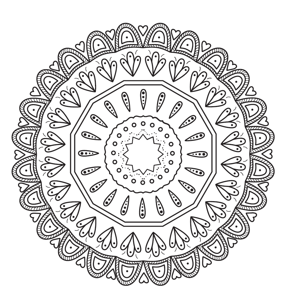 DIY Mandala Flower coloring page printable in black and white.