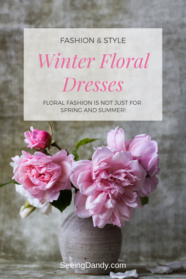 High fashion floral dresses for the winter months. Pretty pink peonies in a vase.