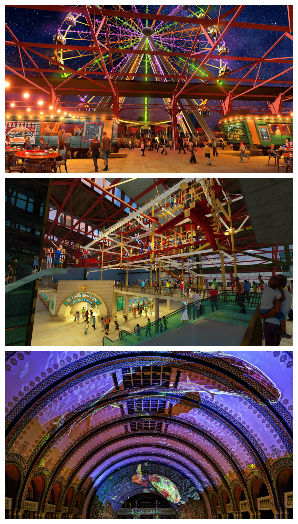 Union Station Grand Hall. St. Louis Wheel, ropes course and laser light show at St. Louis Union Station Aquarium.