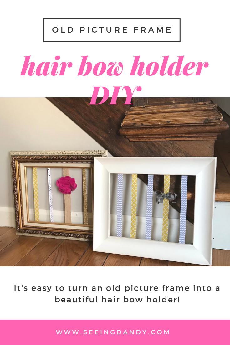 Easy to make DIY hair bow holder using an old picture frame.