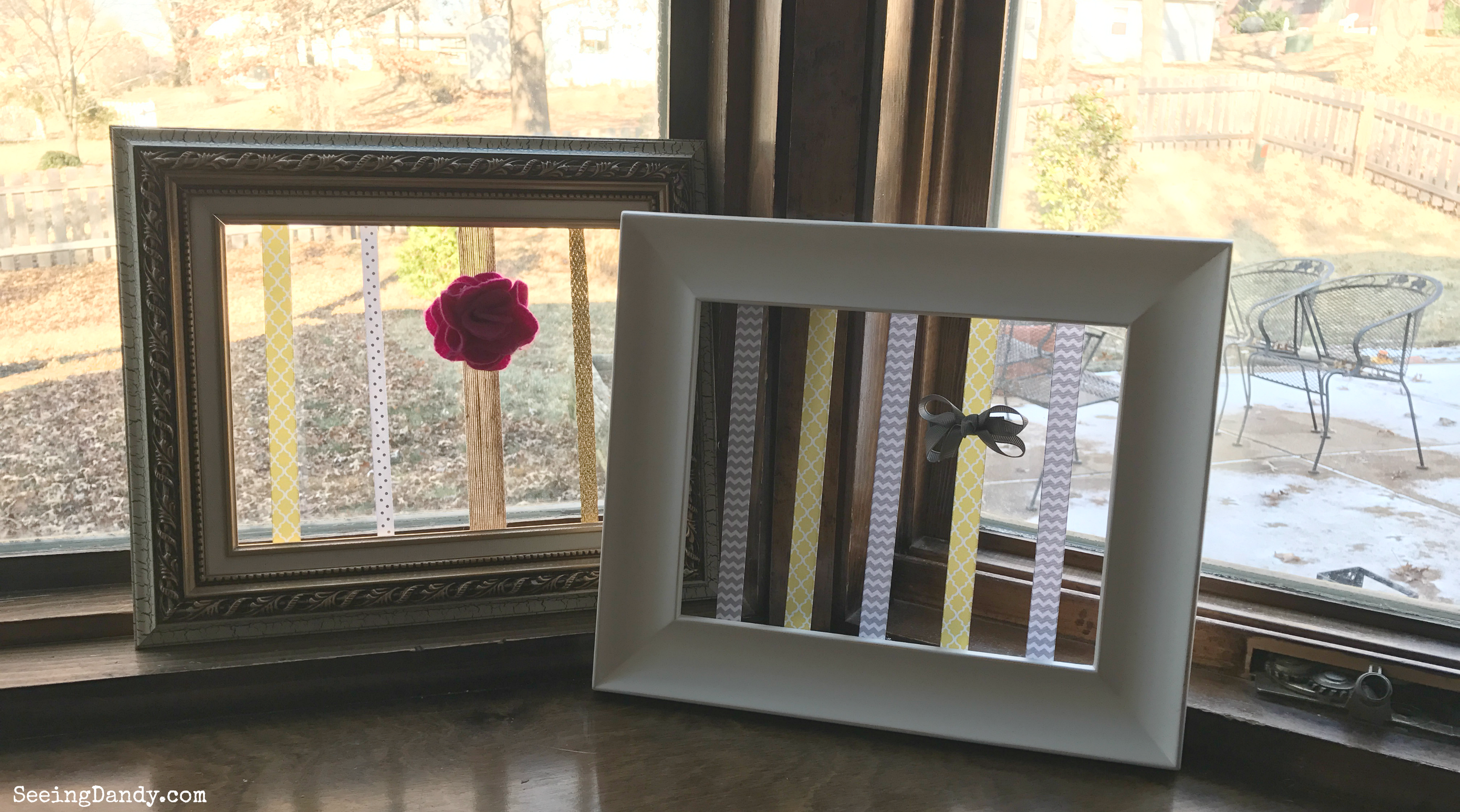 Old picture frame hair bow holder tutorial.