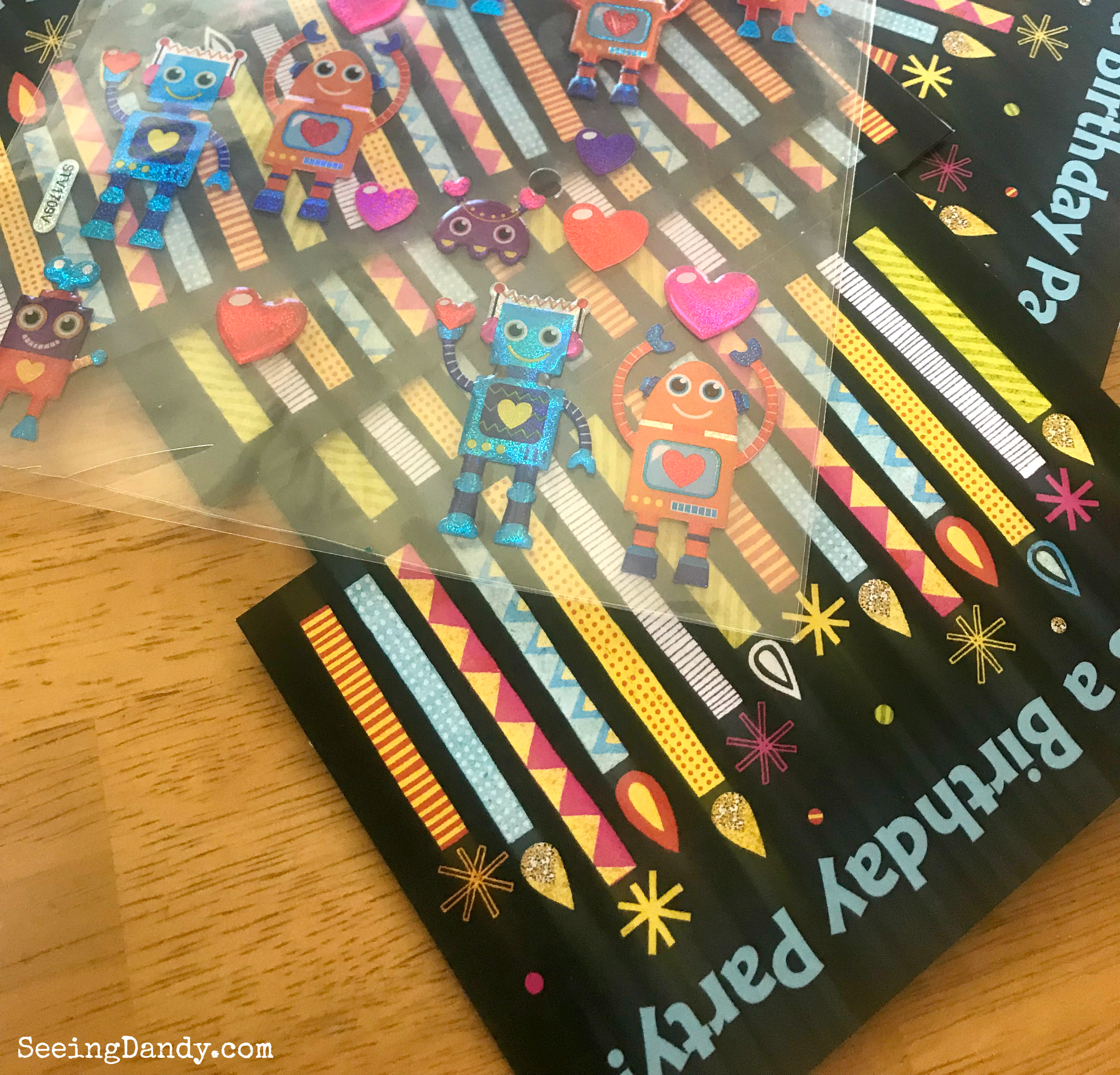 Robot birthday card invitations with robot Valentine stickers.