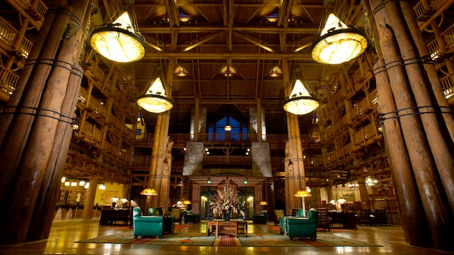 Disney's Wilderness Lodge resort lobby.