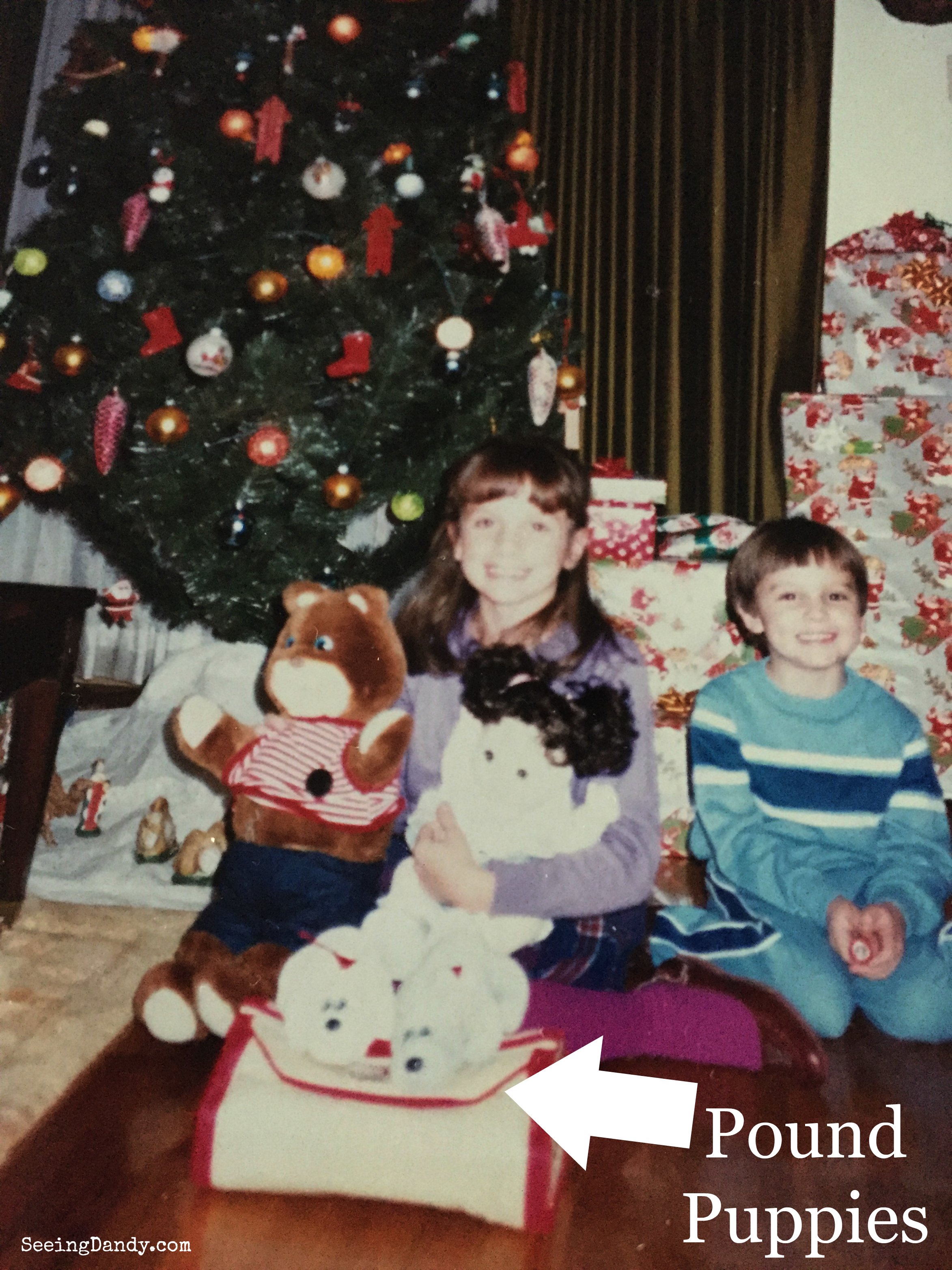 Vintage 1987 Pound Puppies on Christmas with Gabby Bear, My Child doll and Pound Puppy pet carrier.