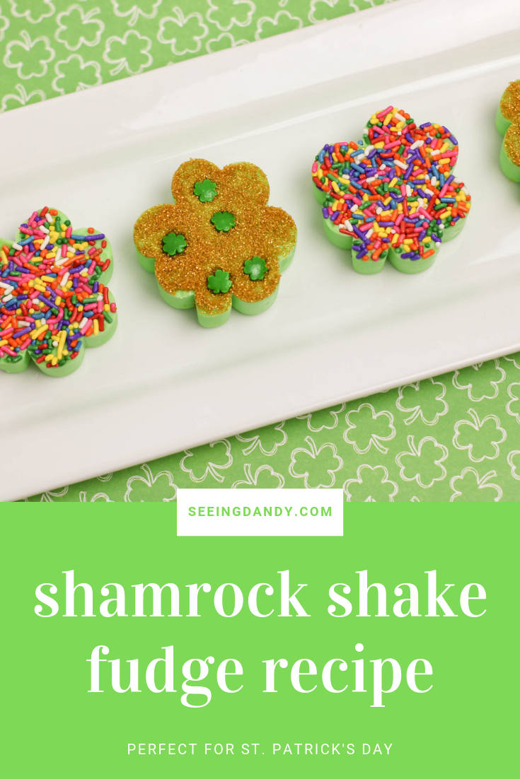 Easy to make shamrock shake fudge recipe for St. Patrick's Day.