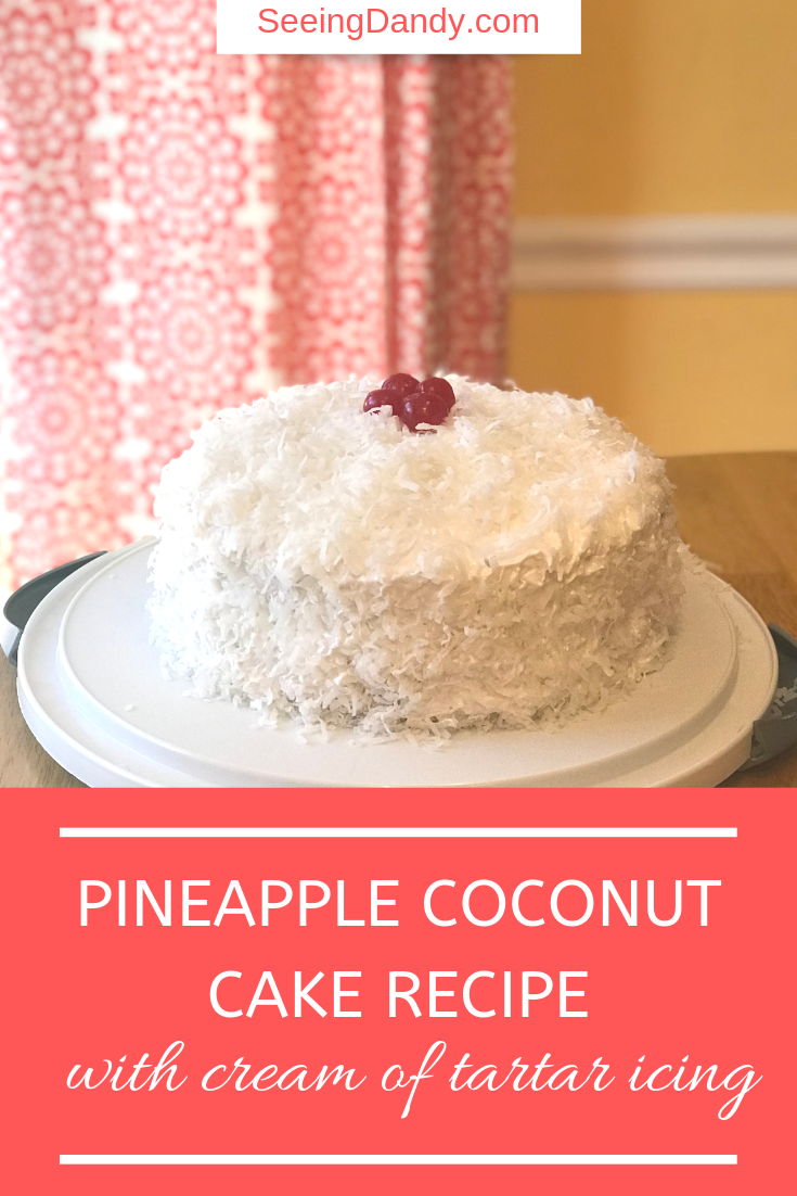 Easy to make pineapple coconut cake recipe with cream of tartar icing.