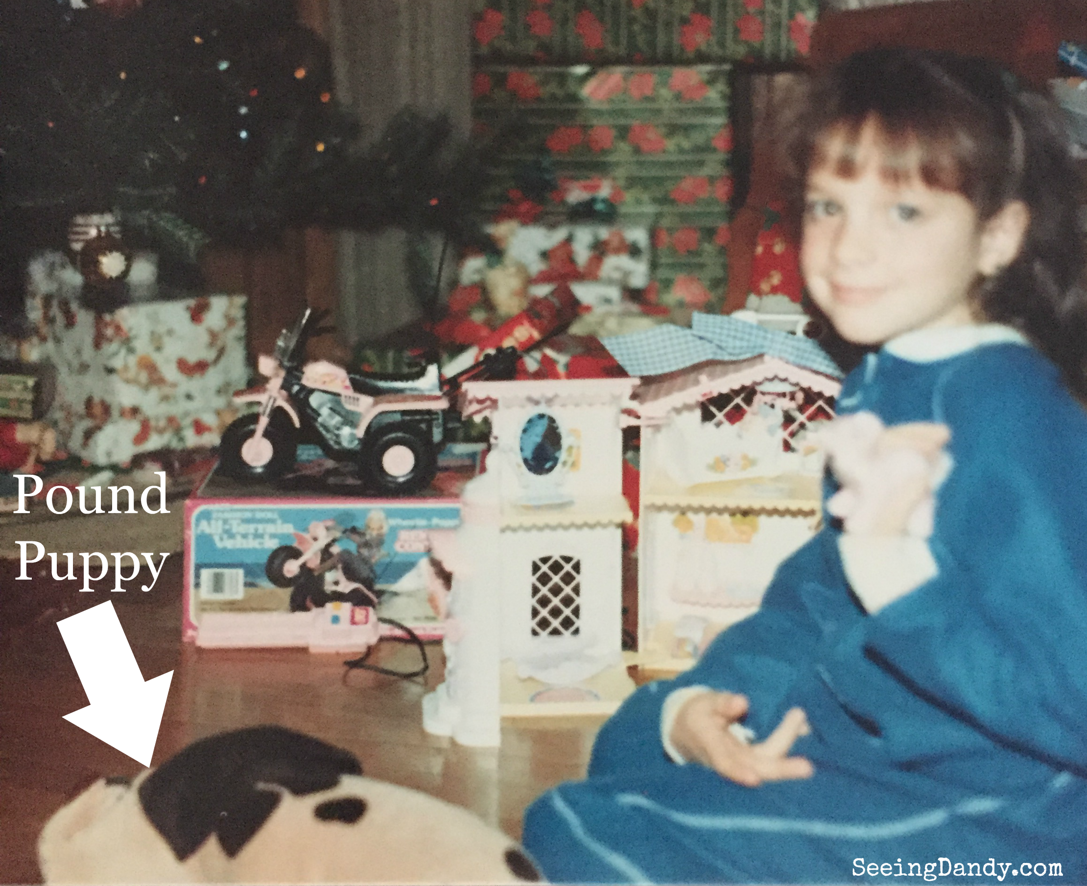 Christmas toys1986. Pound Puppies, My Little Pony Nursery and Barbie 3 wheel ATV with remote control.