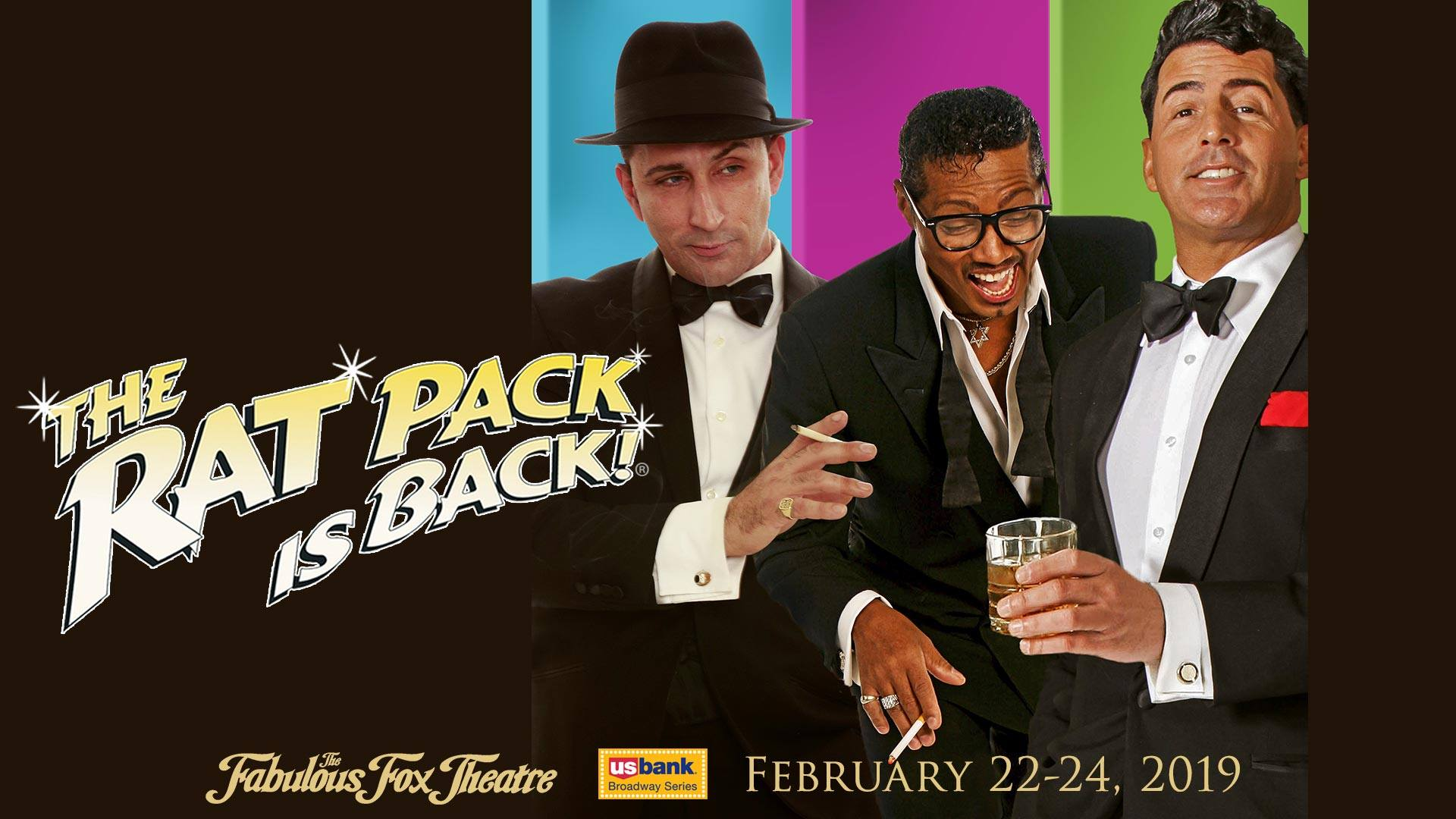 Frank Sinatra, Sammy Davis, Jr. and Dean Martin impersonators in The Rat Pack Is Back.