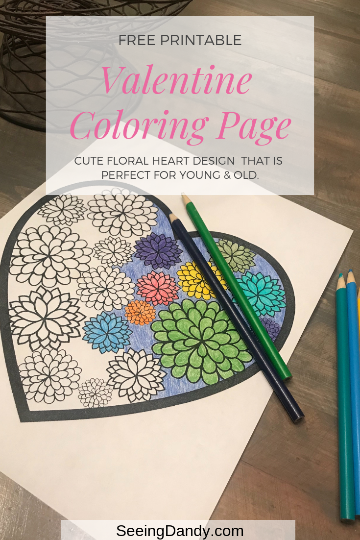 Valentine printable coloring page perfect for the school holiday party.