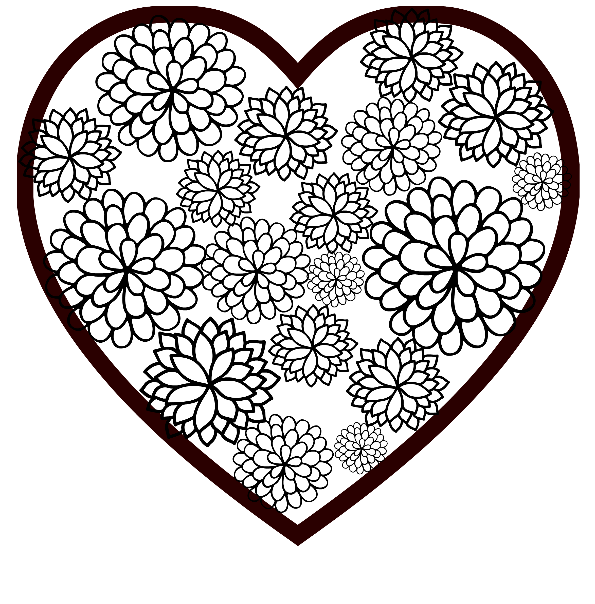 Floral Heart Valentine Printable Coloring Page - Seeing Dandy