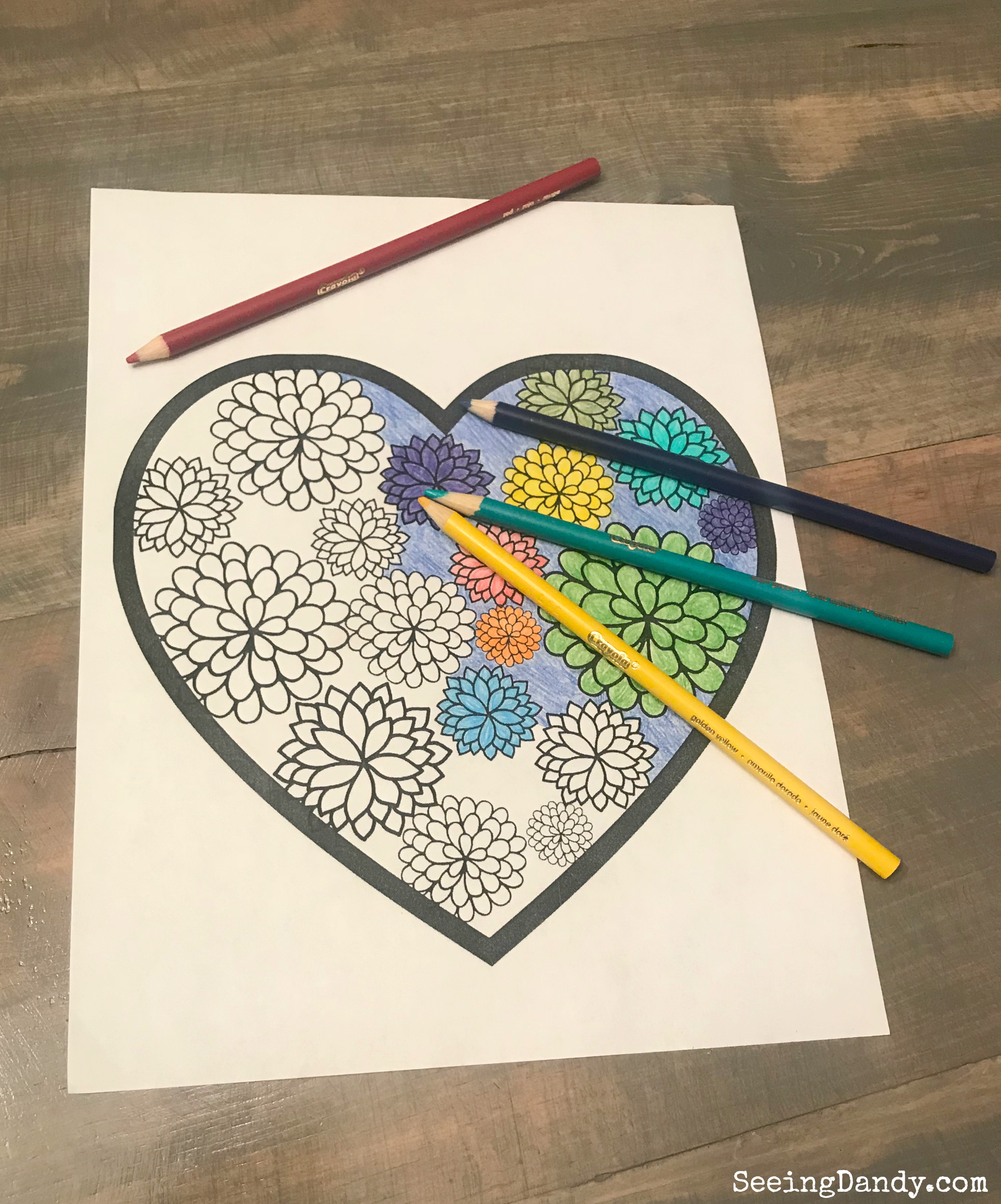Easy and fun Valentine printable coloring page.