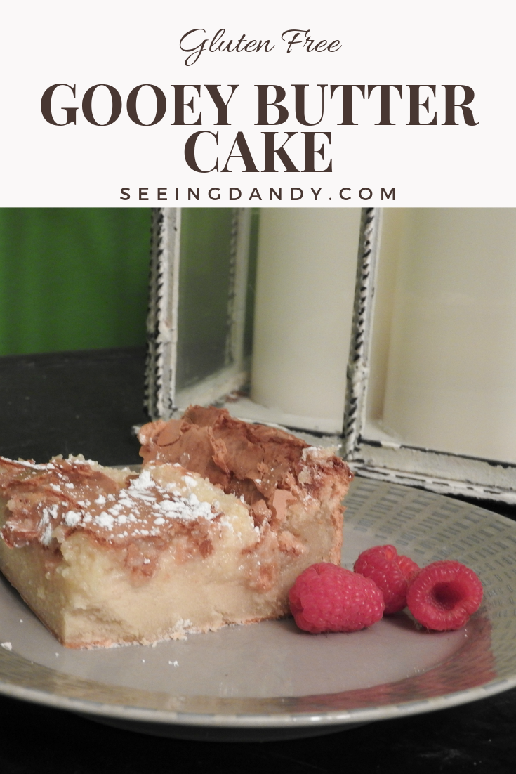 Delicious and easy to make gluten free gooey butter cake recipe.