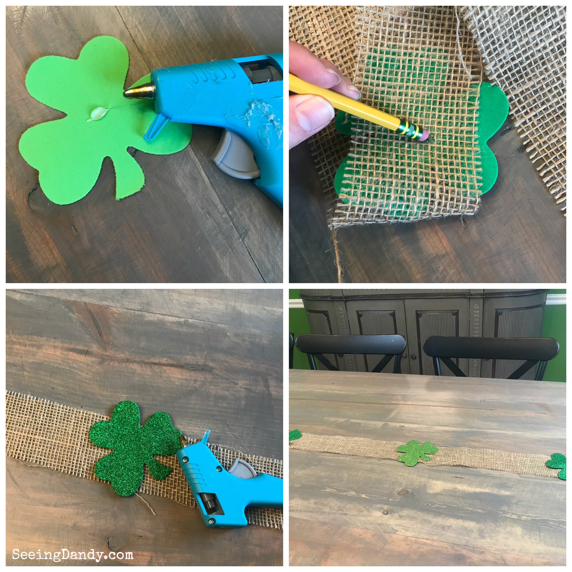 DIY burlap shamrock table runner instructions.