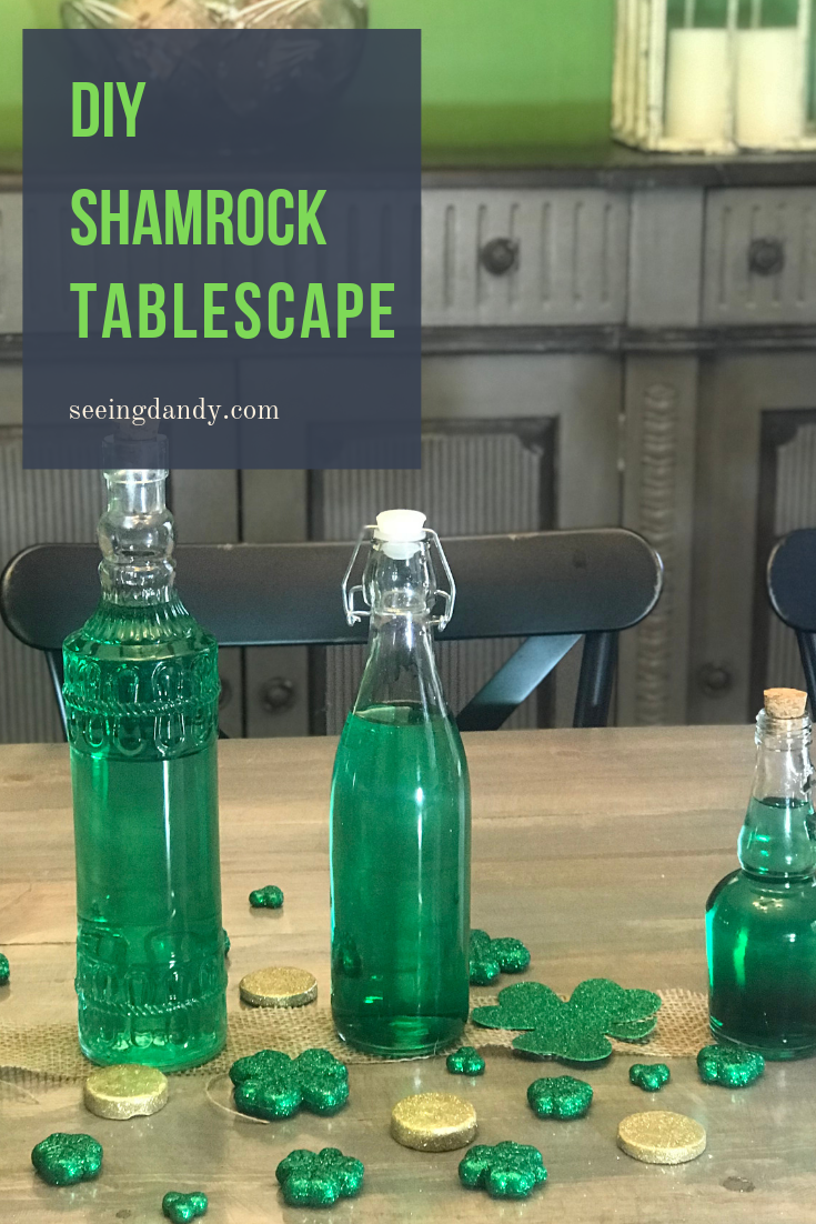 Easy to make shamrock tablescape that's perfect for St. Patrick's Day and farmhouse style decor.