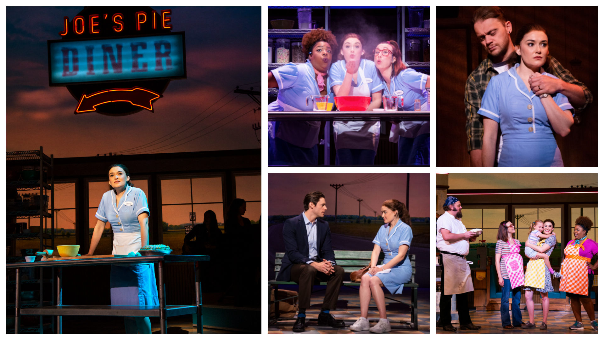 Scenes from Waitress The Musical and Joe's Pie Diner. Christine Dwyer, Maiesha McQueen, Ephie Aardema, Steven Good, Norah Morley.