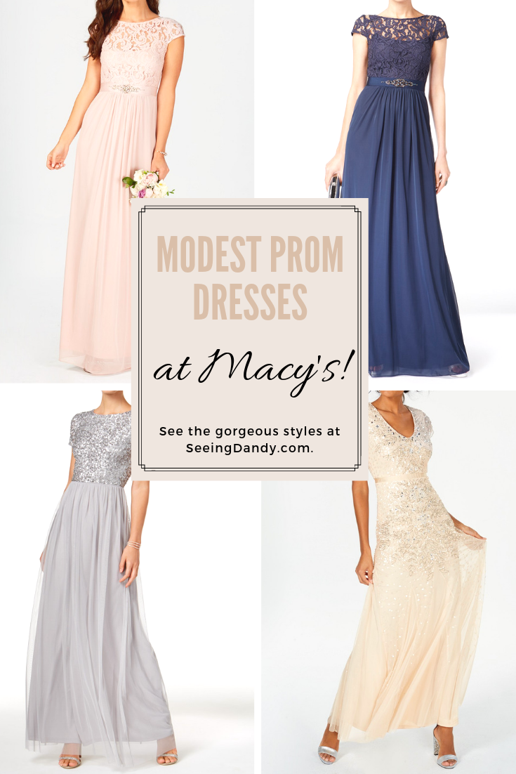 Beautiful modest prom dresses are available at Macy's.