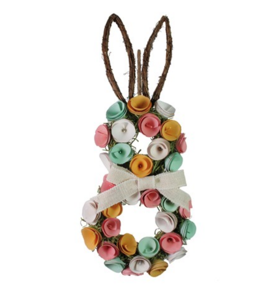 Bunny wreath with curled wood flowers.